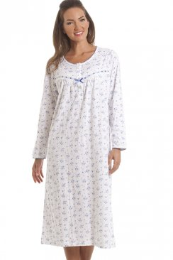 Classic Blue Floral Long Sleeve Cotton Nightdress