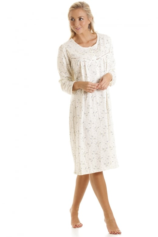 Classic Blue Floral Print Long Sleeve Ivory Nightdress
