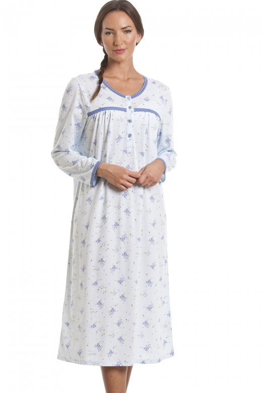 Camille Classic Blue Floral Print Long Sleeve Nightdress