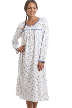Classic Blue Floral Print Long Sleeve White Nightdress