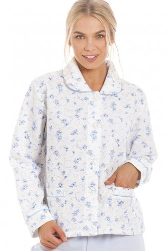 e6c0409b4db Classic Blue Rose Print Quilted Bed Jacket