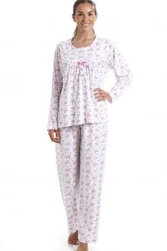 0cf62ecfeb Classic Cotton Jersey Pink Floral Print Pyjama Set