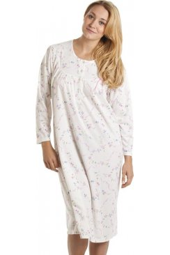 Classic Cream And Pink Floral Print Long Sleeve Nightdress