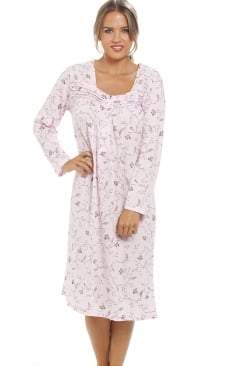 Classic Floral Print Long Sleeve Pink Nightdress