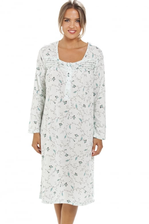 Classic Green Floral Print Long Sleeve Mint Green Nightdress