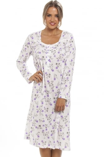 Classic Lilac Floral Print Long Sleeve White Nightdress