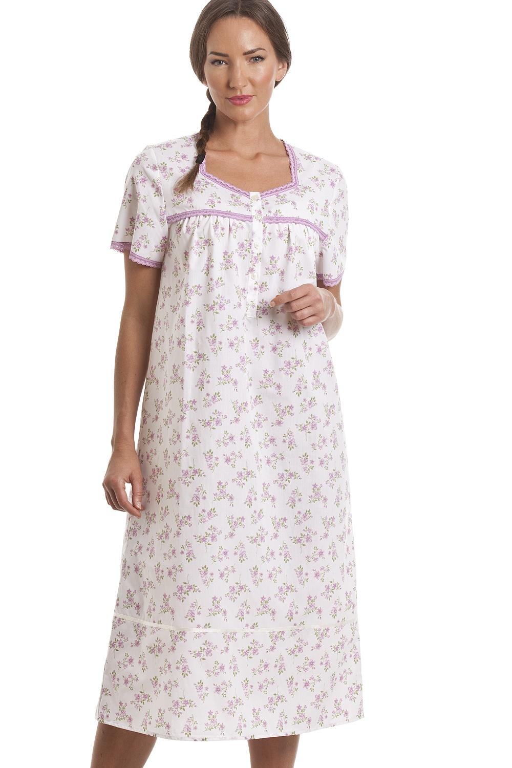 21f296b26c Camille Classic Lilac Floral Print Short Sleeve White Nightdress