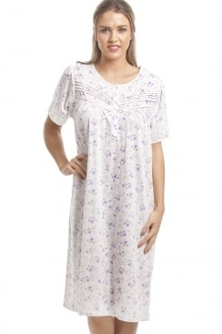 Classic Lilac Floral Print White Short Sleeve Nightdress