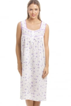 Classic Lilac Floral Print White Sleeveless Nightdress