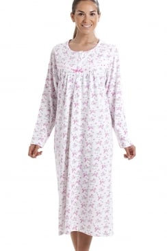 Classic Long Sleeve Pink Floral Print 100% Cotton White Nightdress