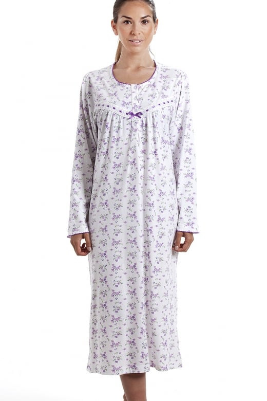 8f5ee5553a classic long sleeve purple floral print 100% cotton white nightdress.  CAMILLE