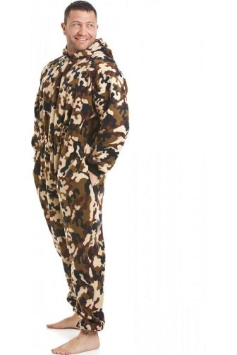 Classic Mens Abstract Camouflage Fleece Pocketed Onesie