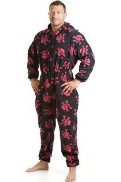 Classic Mens All In One Black And Red Skull Print Fleece Pocketed Pyjama Onesie Size S-5XL