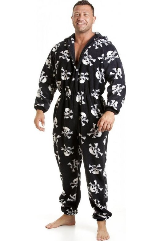 Camille Classic Mens All In One Black And White Skull Print Fleece Pocketed Pyjama Onesie Size S to 5XL