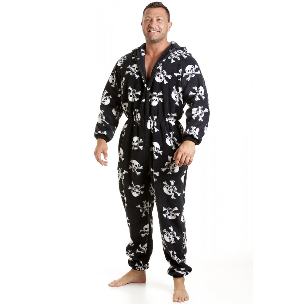 Classic mens all in one black and white skull print fleece pyjama onesie size s xl for Pyjama femme chaud