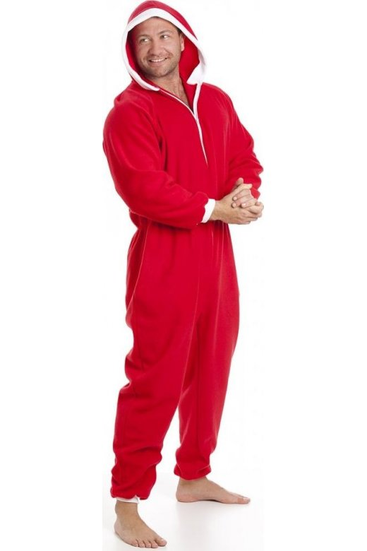 Classic Mens All In One Red And White Fleece Pocketed Pyjama Onesie Size S-5XL