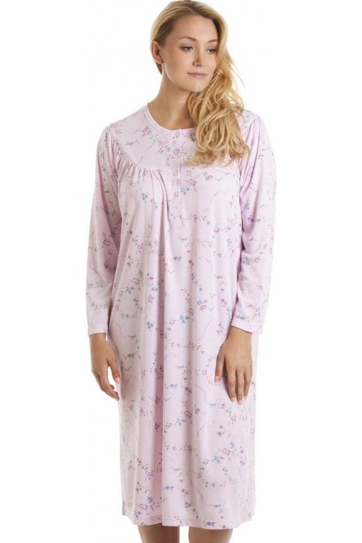 Camille Classic Pink And Purple Floral Print Long Sleeve Nightdress