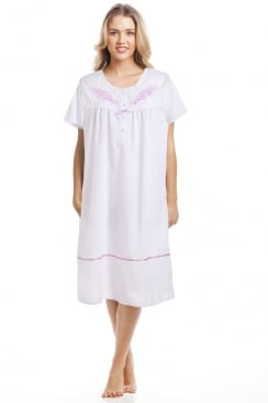 Classic Pink Dot Short Sleeve White Nightdress