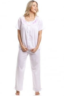 Classic Pink Dot Short Sleeve White Pyjama Set