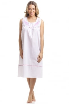 Classic Pink Dot Sleeveless White Nightdress