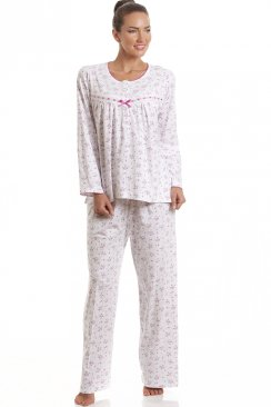 Classic Pink Floral Full Length Cotton Pyjama Set
