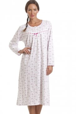 Classic Pink Floral Long Sleeve Cotton Nightdress