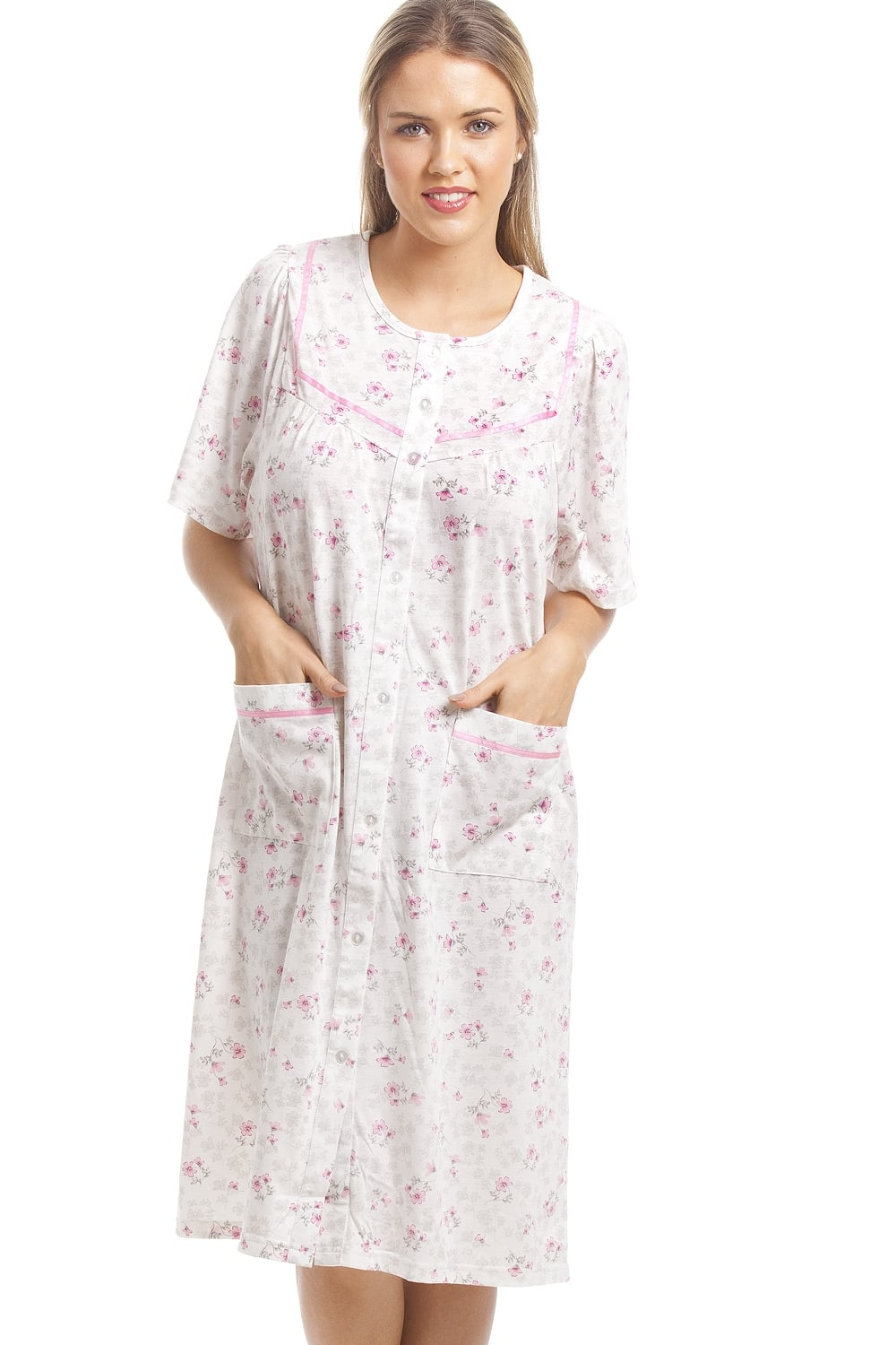 6077c71106 Camille Classic Pink Floral Print White Short Sleeve Button Up Nightdress