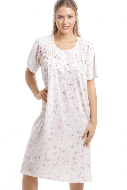 Classic Pink Floral Print White Short Sleeve Nightdress