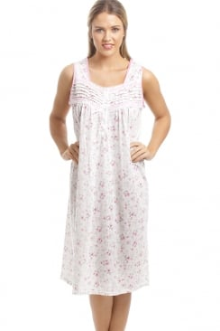 Classic Pink Floral Print White Sleeveless Nightdress
