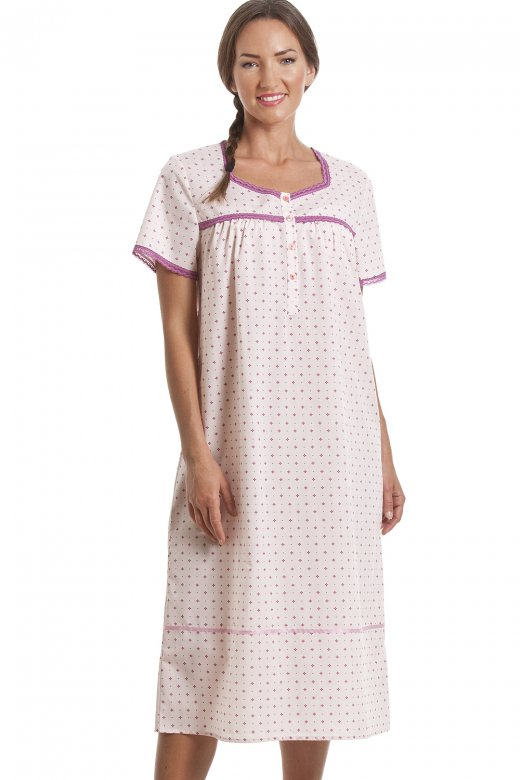Classic Pink Geometric Print Short Sleeve Nightdress