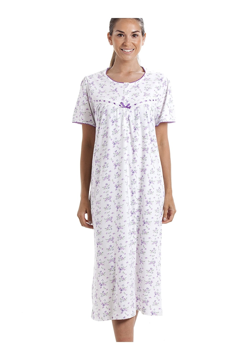 a24b1ae70b Camille Classic Short Sleeve Purple Floral Print 100% Cotton White  Nightdress