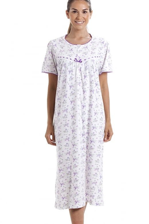 Classic Short Sleeve Purple Floral Print 100% Cotton White Nightdress