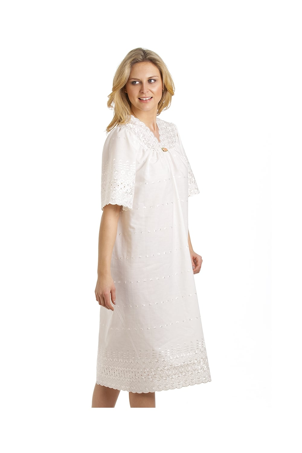 Classic short sleeved ivory embroidered nightdress
