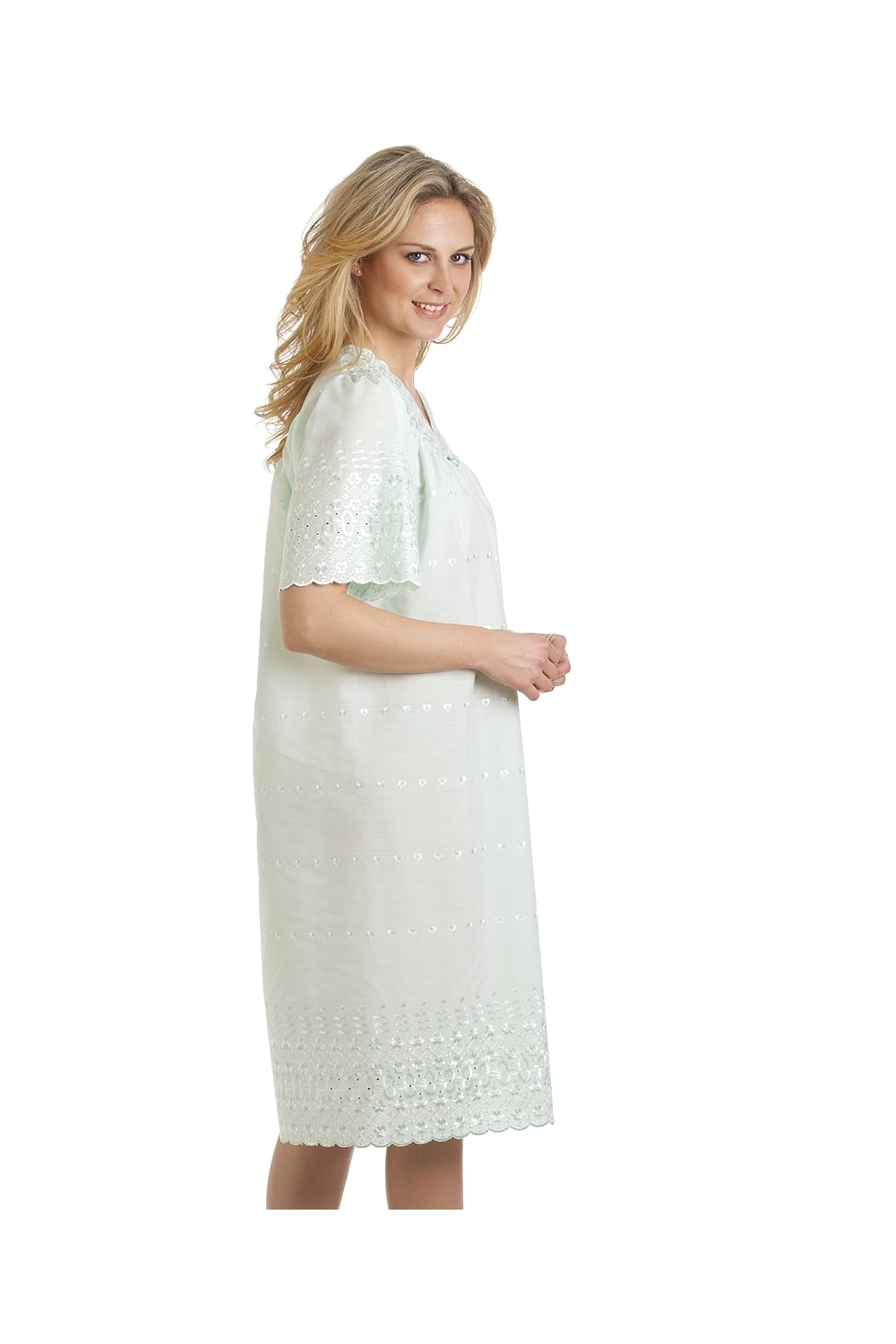 Classic short sleeved mint green embroidered nightdress
