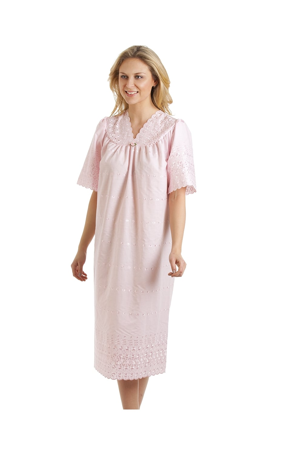 Classic short sleeved pink embroidered nightdress