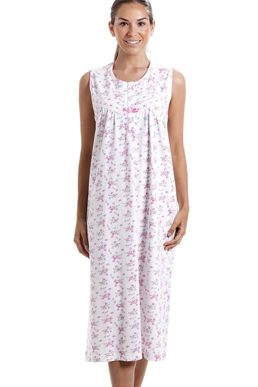 Classic Sleeveless Pink Floral Print 100% Cotton White Nightdress