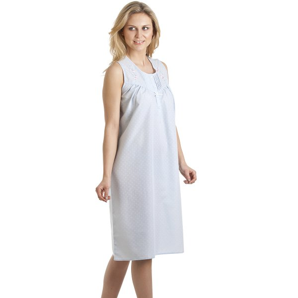 Classic style sleeveless embroidered blue nightdress