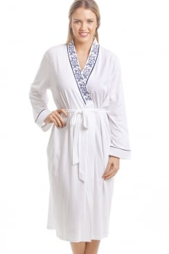 Classic White Bathrobe With Navy Floral Design