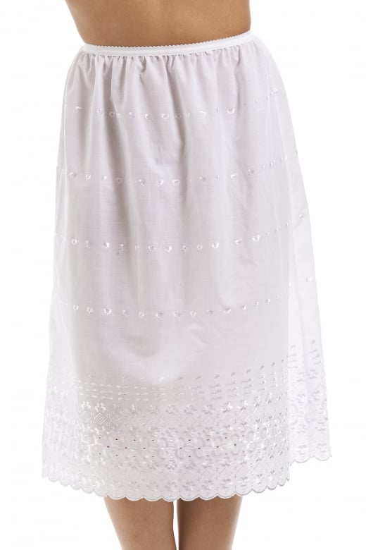 Classic White Embroidered 26'' Half Length Lace Trim Under Skirt Slip