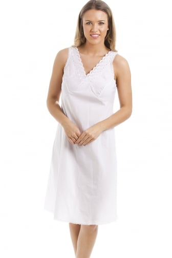 Classic White Embroidered Chemise Full Slip