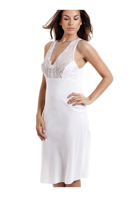 foto de New Womens Camille White Lingerie Lace Trim Full Underslip Nightdress Size 12 24