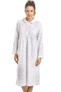 Classic White Long Sleeved Blue Floral Button Front Cotton Nightdress