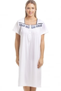 Classic White Nightdress With Navy Floral Design