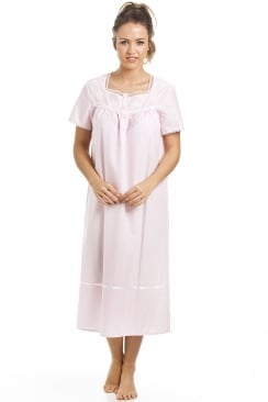 Classic White Polka Dot Short Sleeve Pink Nightdress