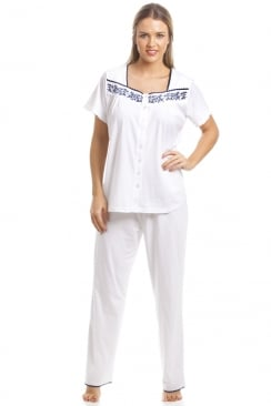 Classic White Short Sleeve Pyjama Set With Navy Floral Design