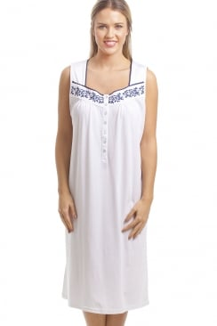 Classic White Sleeveless Nightdress With Navy Floral Design
