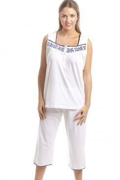 Classic White Sleeveless Pyjama Set With Navy Floral Design