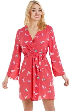 Coral Humming Bird Print Wrap And Chemise Set