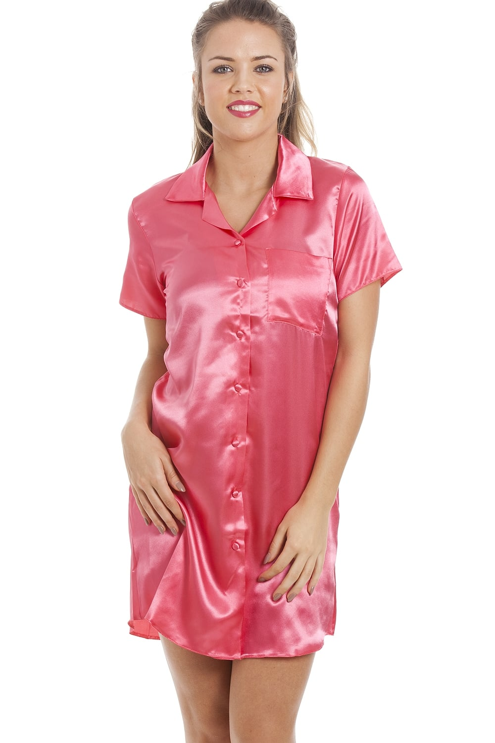 Luxurious Knee Length Coral Pink Satin Nightshirt f59bfbac9
