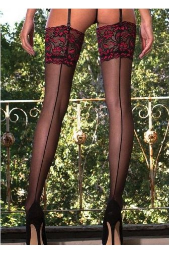 Couture Vixen Range Sheer Lace Top Seamer Stockings